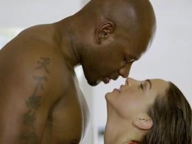 Slutty brunette girl gets her pussy pounded by big black rod