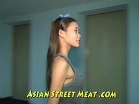 Little Asian Girlette With Bobbing Boobies