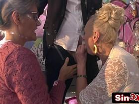 Crazy Italian Talent Show XXX Fucktory - Outrageous Double Granny Blowjob